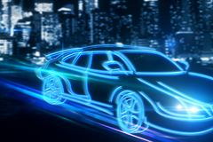 Transport and travel concept. Creative drawing of blue digital car on blurry night city background. Transport and travel concept. 3D Rendering Royalty Free Stock Photography