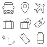 Transport and travel icon set. Vector illustrations, travel icon set Royalty Free Stock Photos