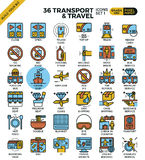 Transport & Travel outline icons. Transport logistic & Travel outline icons modern style for website or print illustration Royalty Free Stock Photos