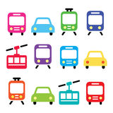 Transport, travel vector icons set isolated on white Royalty Free Stock Image