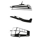 Transport, travel vector illustration of Boat, Airplane, Bus. Stock Photo