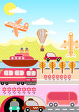 Transport and Travel vector illustration Royalty Free Stock Image