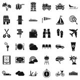 Transport trip icons set, simple style. Transport trip icons set. Simple style of 36 transport trip vector icons for web isolated on white background Royalty Free Stock Photos