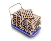 Transport trolley with pallets Royalty Free Stock Image