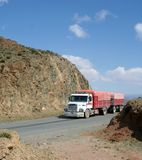Transport Truck. Truck transport truck going through the mountains Stock Photography