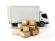 Transport truck with cardboard boxes Royalty Free Stock Images