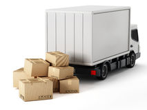 Transport truck with cardboard boxes Stock Image