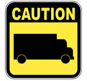 Transport truck caution sign Royalty Free Stock Images