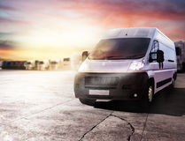Transport truck ready to deliver packages. 3D rendering Stock Photos
