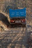 Transport by truck. Mountain road construction Stock Photo