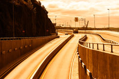 Transport tunnel road in Oslo sunset background Royalty Free Stock Images