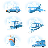 Transport- u. Reisenikonen Lizenzfreies Stockfoto