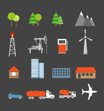 Transport- und Ökologieikonen Stockbilder