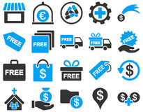 Transport usługa i prezent ikony set Obraz Royalty Free