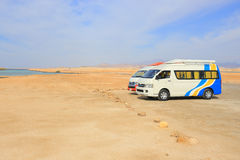Transport Van in the desert Stock Images