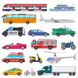 Transport vector public transportable vehicle plane or train and car or bicycle for transportation in city illustration. Set of ambulance fire-engine and police Royalty Free Stock Image