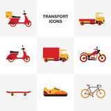 Transport vehicle icon set. Flat transport vehicle icon set Royalty Free Stock Photo