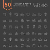 Transport and Vehicle Icon Set. 50 Thin Line Vector Icons. Transport and Vehicle Icon Set. 50 Thin Line Vector Icons illustration vector illustration