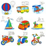 Transport vehicles. Cartoon coloring book page vector illustration