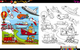 Transport vehicles coloring page Stock Image