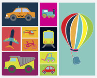 Transport vehicles. Flat design over colorful background vector illustration stock illustration