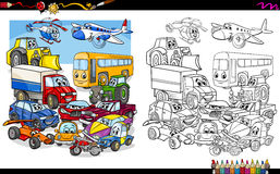 Transport vehicles group coloring page Stock Photos