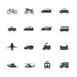 Transport vehicles Icons waterways, overland, air Royalty Free Stock Photography