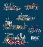 Transport vehicles vector mechanics and mechanisms. Transport mechanics and vehicles mechanisms. Vector train, ship boat, car and bicycle or bike with detailed Royalty Free Stock Photography