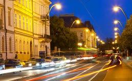 Transport on Vltava Embankment at night Royalty Free Stock Image