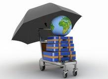 Transport von Erde und von Koffern auf Frachtlichtwarenkorb unter Regenschirm Lizenzfreies Stockbild