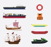 Transport w morza lub wody kolekcji z różnorodną pasmo kolekcją - wektor ilustracji