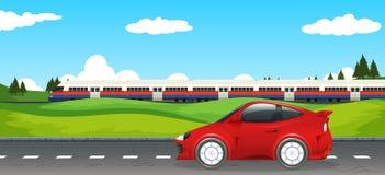 Transport w wiejskim krajobrazie ilustracja wektor