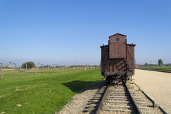 Transport wagon in Auschwitz Royalty Free Stock Photos