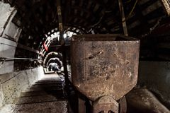 Transport wagon in underground coal mine Royalty Free Stock Photography