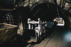 Transport wagon in underground coal mine Royalty Free Stock Photo