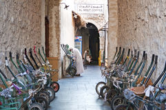 Transport wheelbarrows in old souk of doha qatar Stock Image