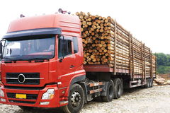 Transport wooden beams Royalty Free Stock Photo