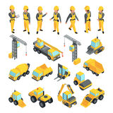 Transport and workers for construction buildings. Vector pictures in isometric style vector illustration