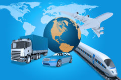 Transport with world map Royalty Free Stock Photography