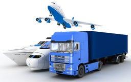 Transport Yacht, drev, lastbil och nivå vektor illustrationer