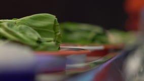 Transportador de la comida Café asiático del estilo con la comida que mueve encendido un transportador en pequeñas placas Concept metrajes