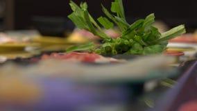 Transportador de la comida Café asiático del estilo con la comida que mueve encendido un transportador en pequeñas placas Concept almacen de video