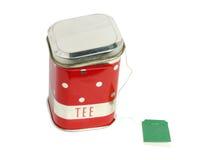 Transportador para o chá com uma etiqueta Fotografia de Stock Royalty Free