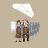 Transportaion passengers senior couple Royalty Free Stock Photo