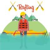 Transportando el casco derecho del río en balsa del barco de la gente transporte el kajak del deporte en balsa de la canoa Fotografía de archivo