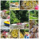Transportando na garganta no rio da montanha de Balis, Indonésia Foto de Stock