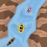 Transportar na opinião superior do rio ilustração stock