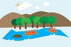 Transportar no fundo do vetor do rio ilustração do vetor