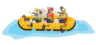 transportar Seis povos e cães no barco amarelo ilustração stock