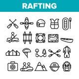 Transportar viaje en balsa, sistema linear de los iconos del vector del deporte libre illustration